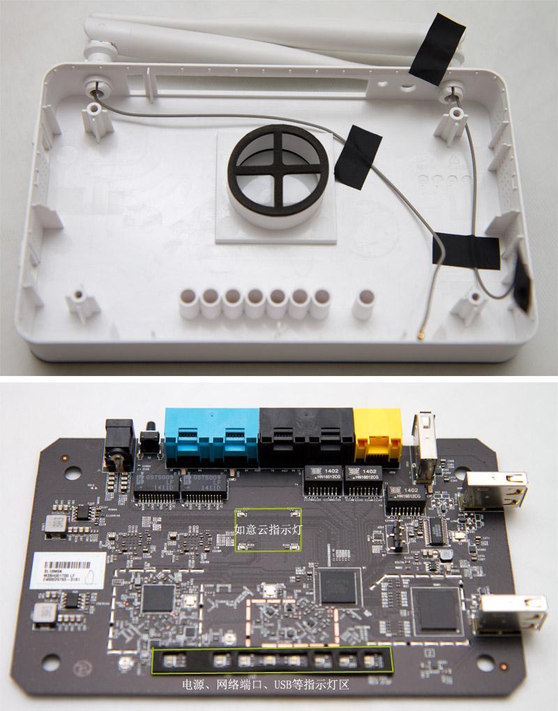 联想云路由采用联发科MT 7620A处理器,处理器主频580M,内置华邦 972GG6JB 256M DDR2 RAM,华邦25Q128E 16M Flash ROM;配搭MT 7612EN芯片处理5G无线信号;两块RTL8211E芯片扩展两个千兆以太网接口;侧面两个提供大电流的USB拉口是由LG850S USB HUB芯片扩展。以太网接口、RESET键及电源接口是后期人工焊上,比小米路由、360安全路由一次性焊接工艺稍差一些。